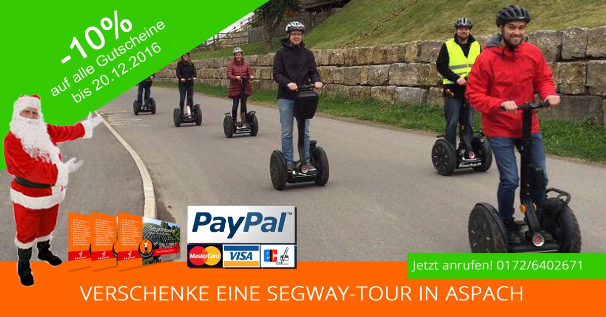 Segwaytouren in Aspach, jetzt Geschenkgutscheine mit 10% Rabatt kaufen